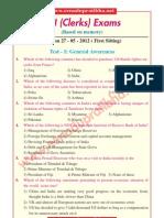 SBI (Clerks) Exams - General Awareness - 2012