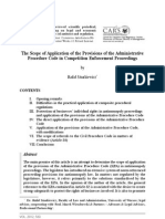 The Scope of Application of the Provisions of the Administrative Procedure Code in Competition Enforcement Proceedings