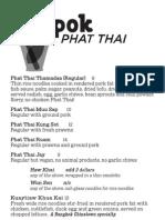 Phat Thai menu