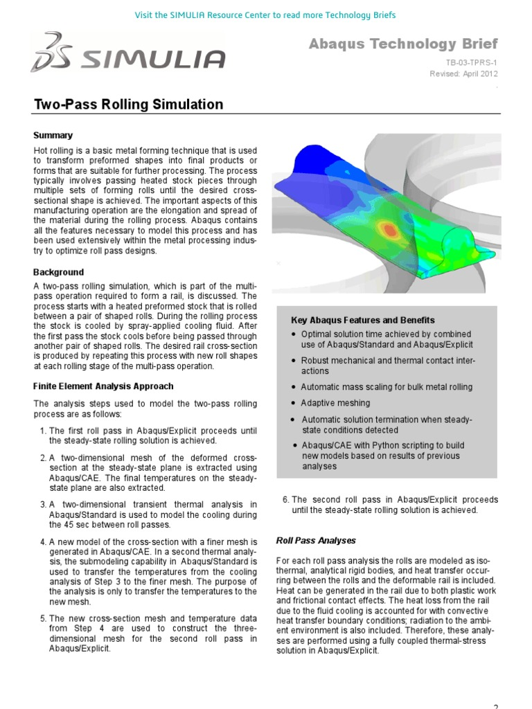 Two-Pass Rolling Simulation 2012   Applied And Interdisciplinary