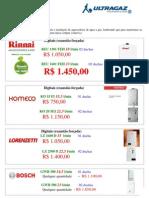 Orçamento Aquecedores Compra Coletiva Reviva  TRAZGAZ Atualizada 28-07