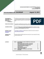 Michigan DEQ Calendar Aug. 13, 2012