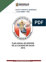 Plan de Gestion Dela Calidad 2012