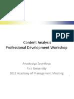 Content Analysis Professional Development Workshop