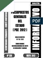 Presupuestos Generales  Estado 2012 Boletin informativo