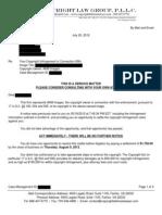 Copyright Law Group Settlement Demand Letter (Attorney Mike Meier)