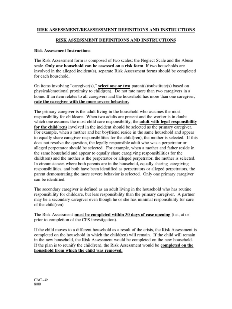 Colorado CPS - Family Risk Assessment - Instructions   Child