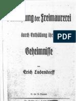 Ludendorff, Erich - Vernichtung Der Freimaurerei Durch Enthuellung Ihrer Geheimnisse (1927, 80 S., Scan, Fraktur)