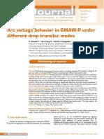 Arc voltage behavior in GMAW-P under different drop transfer modes