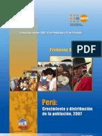 Perú Crecimiento y distribución de la población, 2007 -  Resultados Censo 2007