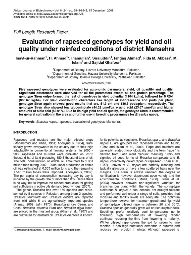 Inayt et al | Rapeseed | Crops