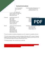 Teaching List for Academies