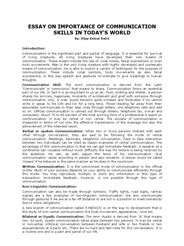essay on importance of communication skills in today s world  essay on importance of communication skills in today s world nonverbal communication interpersonal communication