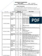 Sargodha University Ma Msc Part2 Date Sheet 2012