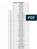 Participantes do Sorteio de 19/08/2012 - Facebook