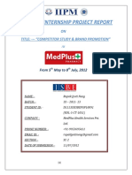 A project work on Competitor study and Brand Promotion of MedPlus Pharmacy retail chain by Rupak Jyoti Neog(MBA-Marketing)