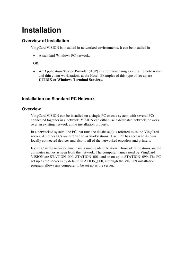 Vision Installation | Windows Registry | Microsoft Windows