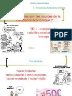 TD 1 - Comparaison de Variables Dans Le Temps Euros Courants- Euros Constants