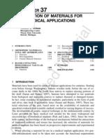 Selection of Materials Biomedical Application(1)