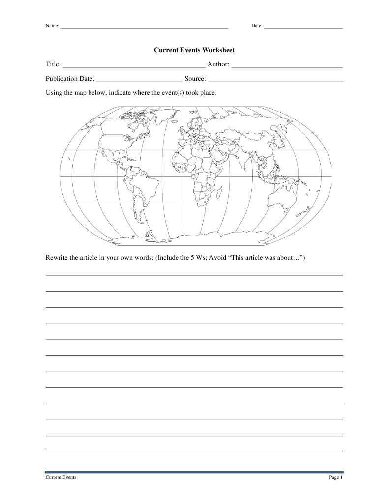 Current Events Worksheet