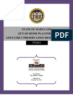 Maryland Out-Of-Home Placement Family Preservation Report FY 2011