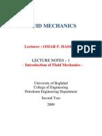 Fluid Mechanics Lectures (1) (University of Baghdad) - Omar F. Hasan