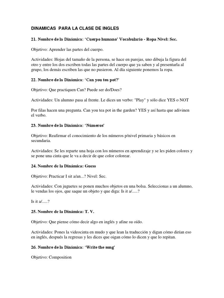 Dinamicas Para La Clase De Ingles Oración Lingüística