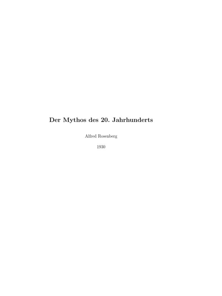 Rosenberg, Alfred - Der Mythus Des 20. Jahrhunderts (1934, 398 S., Text)