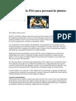 Normas de La FDA Para Personal de Plantas