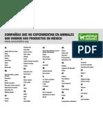 Lista de productos en México no probados en animales