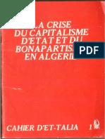LA CRISE DU CAPITALISME D'ETAT ET DU BONAPARTISME EN ALGERIE
