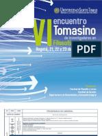 Programación VI Encuentro Tomasino de Investigadores en Filosofía y Cultura