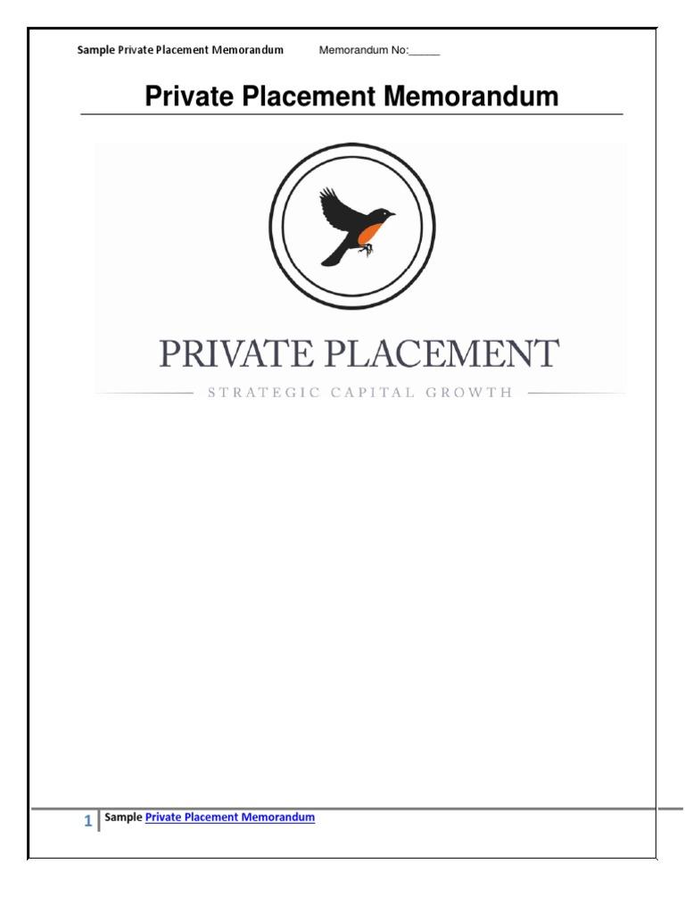 Sample Private Placement Memorandum | Securities Act Of 1933 | Securities  (Finance)