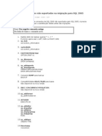 Comandos e funções não suportados na migração para SQL 2005
