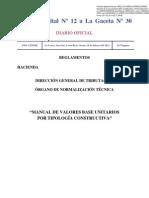 Manual de Valores Base Unitarios por Tipología Constructiva periodo 2012