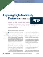 Exploração Das Funcionalidades de Alta Disponibilidade No Microsoft SQL Server 2005