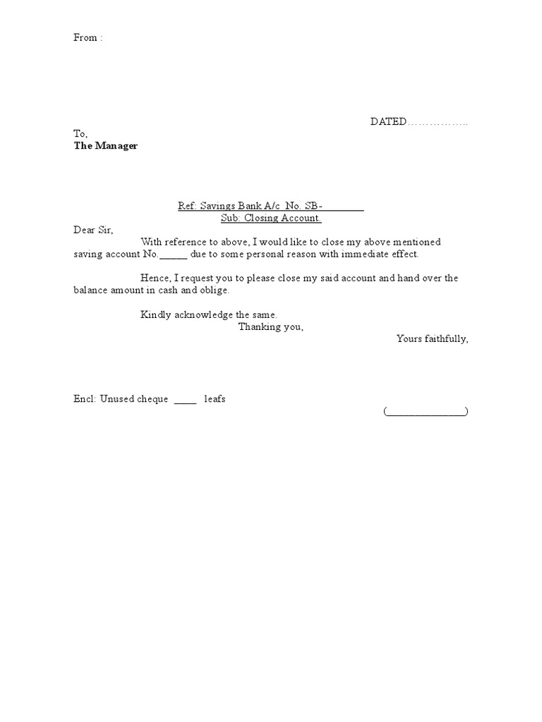 Closing bank account letter for Account closure letter template