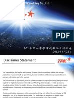 TPK 1Q12 Result Summary