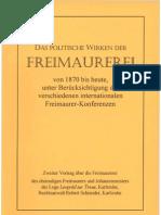 Schneider, Robert - Das Politische Wirken Der Freimaurerei Von 1870 Bis Heute (1932-2000, 28 S., Scan-Text, Fraktur)
