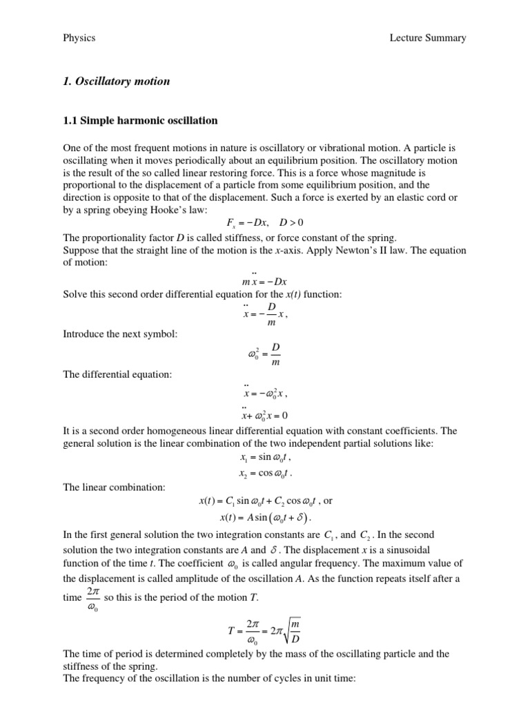 Simple Harmonic Motion, Superposition   Physical Quantities