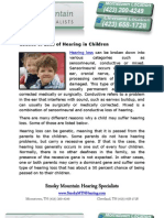 Causes of Loss of Hearing in Children