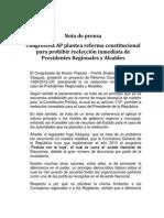 Nota de prensa - Reforma constitucional para la no reelección de Presidentes Regionales y Alcaldes