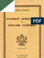 Guénon René - Autorité spirituelle et pouvoir temporel