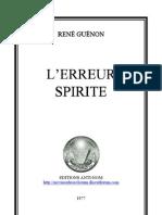 Guénon René - L'erreur spirite