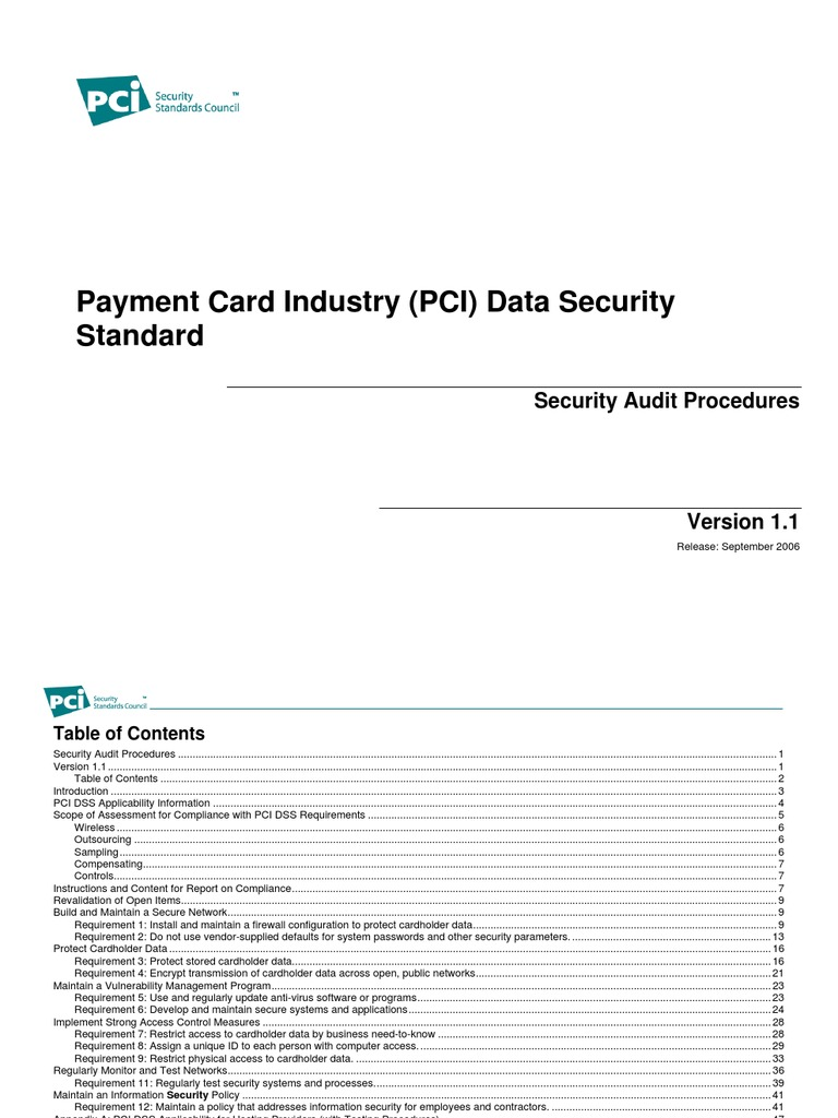 Pci Audit Procedures V1 1 Payment Card Industry Data Security Standards Standard Firewall Computing
