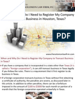 When and Why Do I Need to Register My Company to Transact Business in Hoston, Texas?