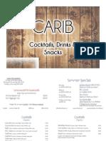 Carib Getränkekarte