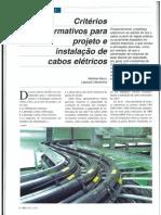 Crtiérios Normativos para projeto de instalação de cabos elétricos