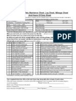 Drivers Daily Check Sheet Log Sheet Mileage Sheet