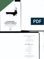 Cristiano, Javier. Lo Social Como Institucion Imaginaria Castoriadis y La Teoria Sociologica
